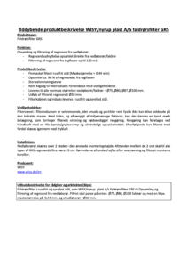 Uddybende produktbeskrivelse faldrorsfilter GRS