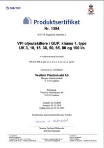 produktcertifikat VPI olieudskiller